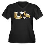 Rock Star Women's Plus Size V-Neck Dark T-Shirt