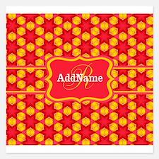 Red Yellow Monogrammed Patt 5.25 x 5.25 Flat Cards