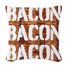 Bacon Bacon Bacon Woven Throw Pillow