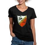 USS TAYLOR Women's V-Neck Dark T-Shirt