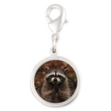 Evil Raccoon Silver Round Charm