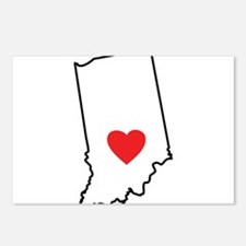 I Heart Indiana State Outline Postcards (Package o