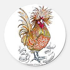 Chicken Feathers Round Car Magnet