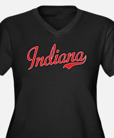 Indiana Script Font Red Plus Size T-Shirt