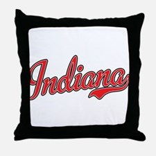 Indiana Script Font Red Throw Pillow