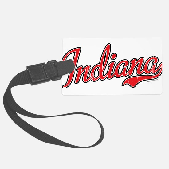 Indiana Script Font Red Luggage Tag