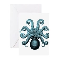 Teal Octopus Greeting Cards