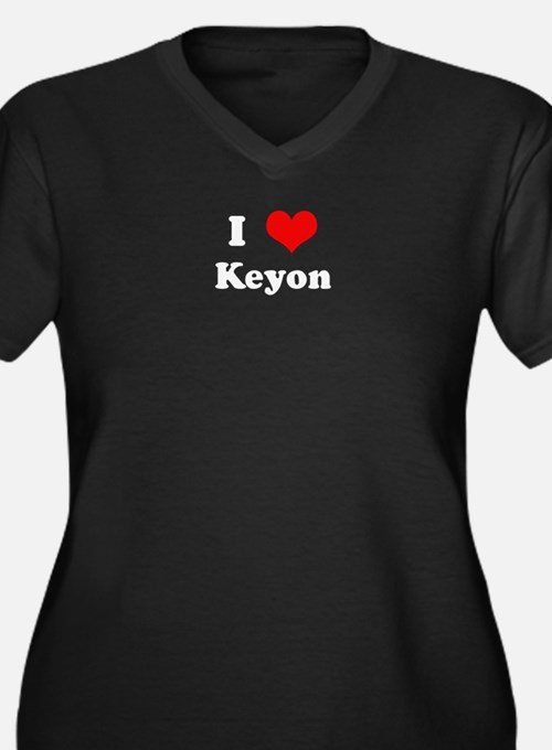 I Love Keyon Women's Plus Size V-Neck Dark T-Shirt