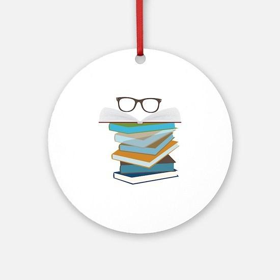Stack Of Books Ornament (Round)