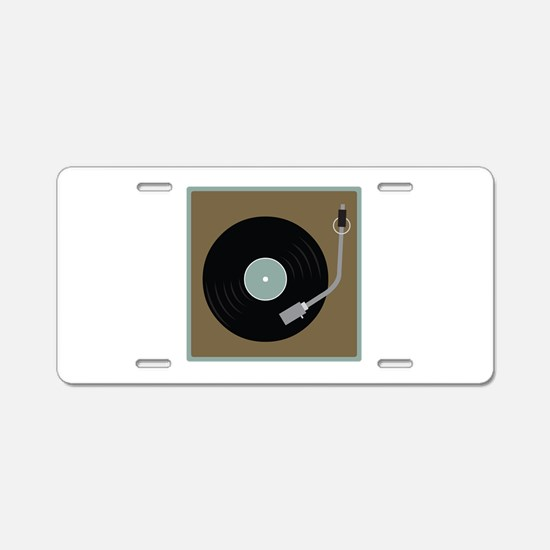 Record Player Aluminum License Plate