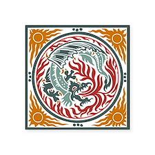 "Art Nouveau Dragon Square Sticker 3"" x 3"""