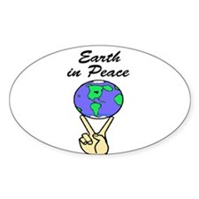 EARTH IN PEACE Oval Decal
