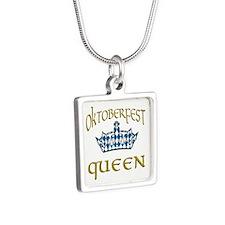 Oktoberfest Queen Crown Silver Square Necklace