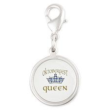Oktoberfest Queen Crown Silver Round Charm