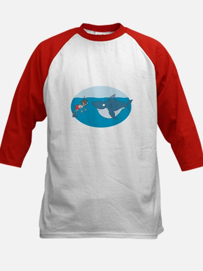Funny Shark Encounter Kids Baseball Jersey