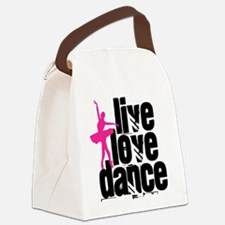 Live, Love, Dance with Ballerina Canvas Lunch Bag