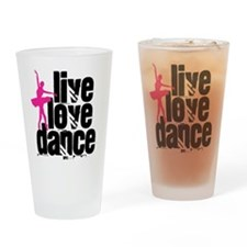 Live, Love, Dance with Ballerina Drinking Glass