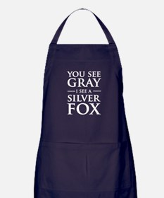 You See Gray, I See a Silver Fox Apron (dark)