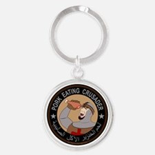 Pork Eating Crusader Round Keychain