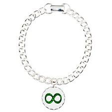 Green Infinity Symbol Charm Bracelet, One Charm