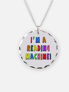 Im a Reading Machine Necklace Circle Charm