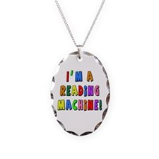 Im a Reading Machine Necklace Oval Charm
