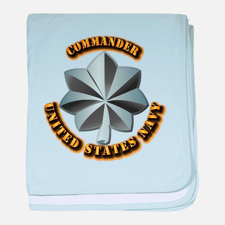 Navy - Commander - O-5 - V1 - w Text baby blanket