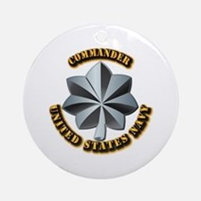 Navy - Commander - O-5 - V1 - w T Ornament (Round)