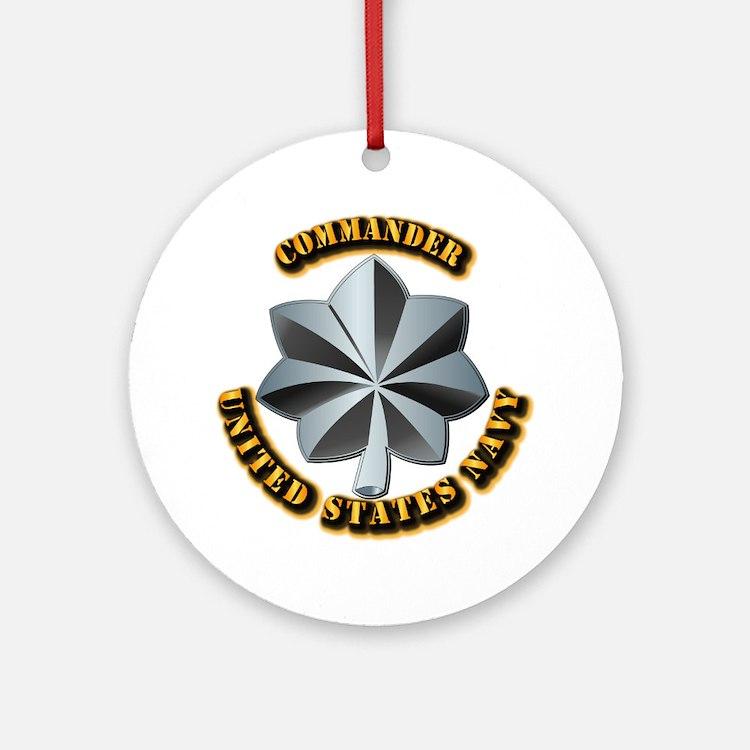 Navy - Commander - O-5 - V1 - w T Ornament (Round)