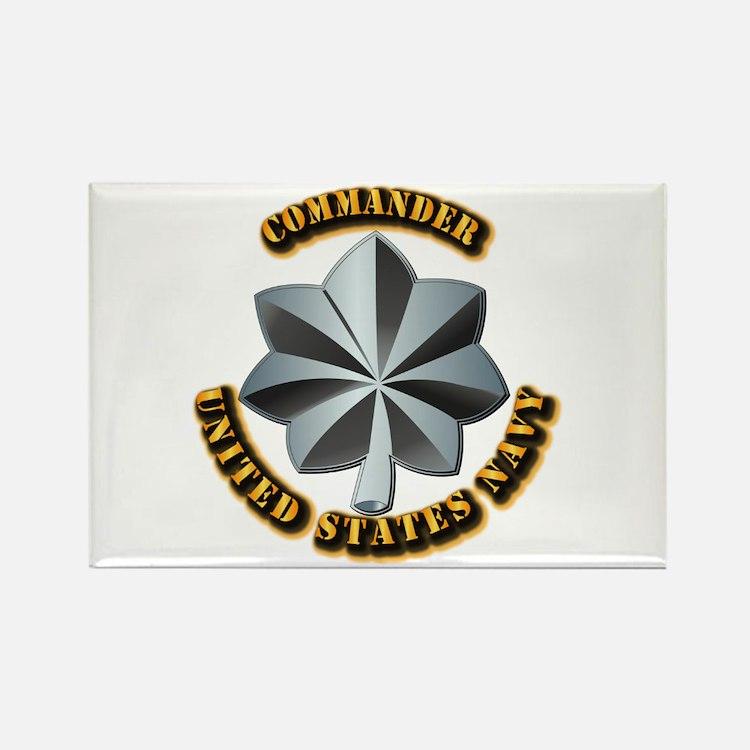 Navy - Commander - O-5 - V1 - w T Rectangle Magnet