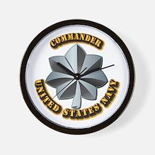 Navy - Commander - O-5 - V1 - w Text Wall Clock