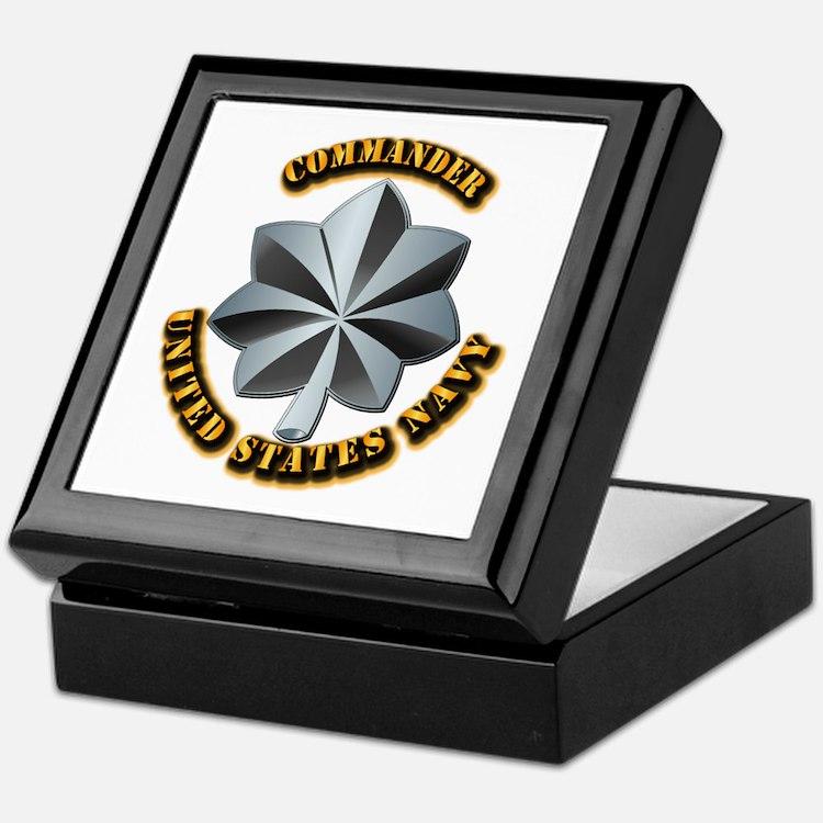 Navy - Commander - O-5 - V1 - w Text Keepsake Box