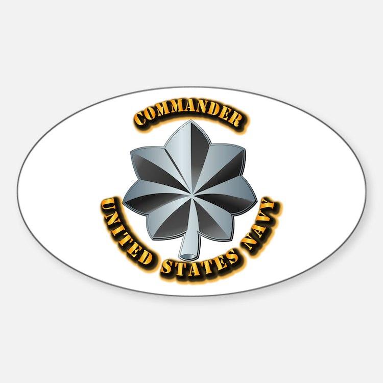 Navy - Commander - O-5 - V1 - w Tex Sticker (Oval)