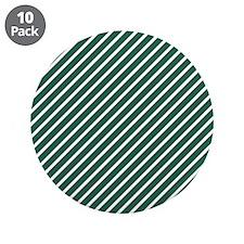 "Hunter Green and White Diagonal Stripes 3.5"" Butto"