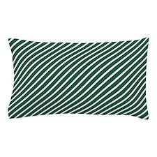 Hunter Green and White Diagonal Stripes Pillow Cas