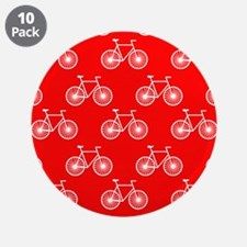 """White Bicycle, Cycling Pattern; Bright Red 3.5"""" Bu"""