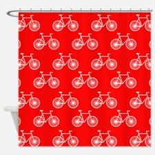 White Bicycle, Cycling Pattern; Bright Red Shower