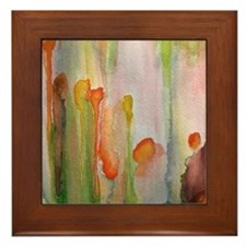 """slip"" abstract watercolor painting Framed Tile"