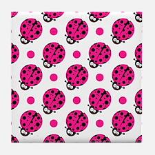 Cute Ladybug, Neon Hot Pink White Polka Dots Tile