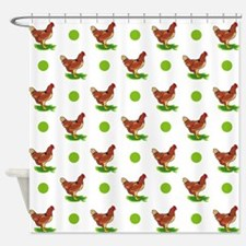 Cute Rooster, Chicken, Green Polka Dots Shower Cur