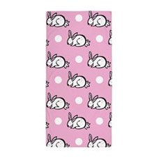 Cute Bunny Rabbit; Pink White Polka Dots Beach Tow