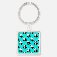 Cute Panda; Neon Turquoise Blue, Black White Keych