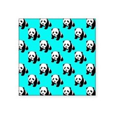 Cute Panda; Neon Turquoise Blue, Black White Stick