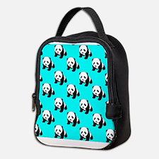 Cute Panda; Neon Turquoise Blue, Black White Neopr