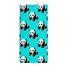 Cute Panda; Neon Turquoise Blue, Black White Beach