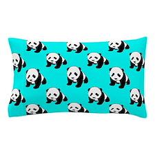 Cute Panda; Neon Turquoise Blue, Black White Pillo