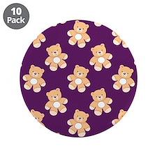 "Deep Purple Teddy Bear, Bears 3.5"" Button (10 pack"