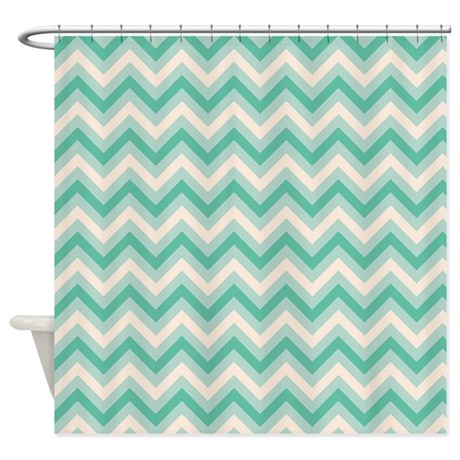 Retro Mint Green Chevron Stripes Shower Curtain By ClipArtMEGAmart