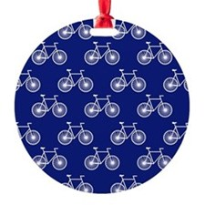 White Bicycle, Cycling Pattern; Dark Blue Ornament