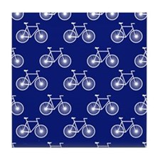 White Bicycle, Cycling Pattern; Dark Blue Tile Coa